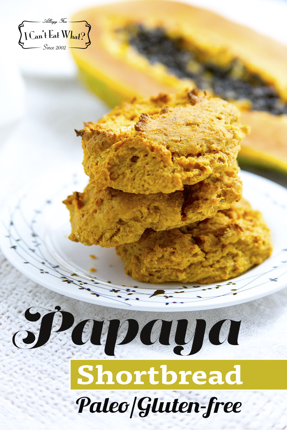 Papaya Shortbread (vegan, grain, dairy, soy, egg and sugar free)